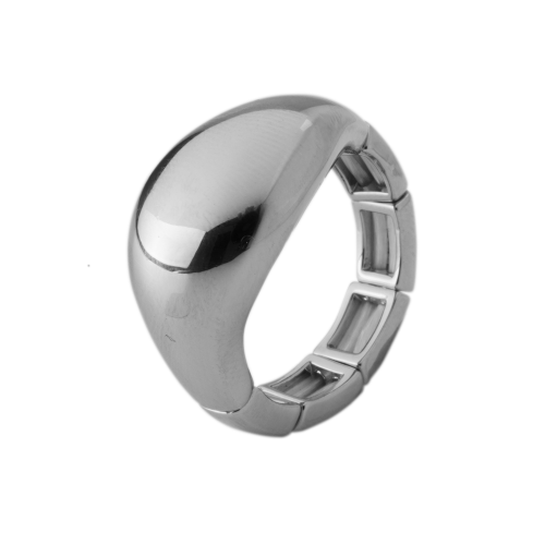 Bisoux Rhodium Plated Elasticated Simple Abstract Ring in Silver